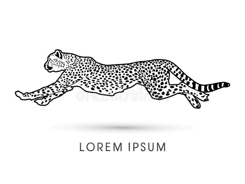 Gepard biega bocznego widok royalty ilustracja