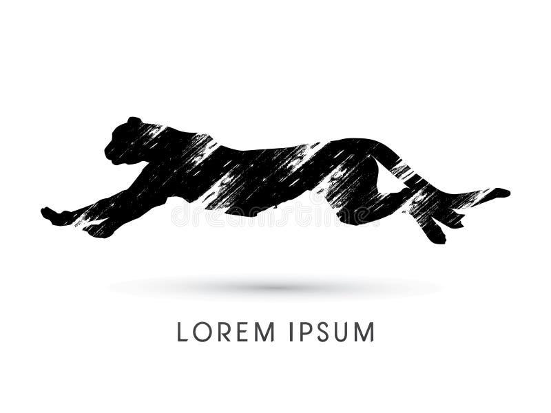 Gepard biega bocznego widok ilustracji