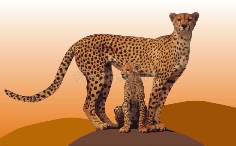 Gepard com o filhote de cachorro fotografia de stock