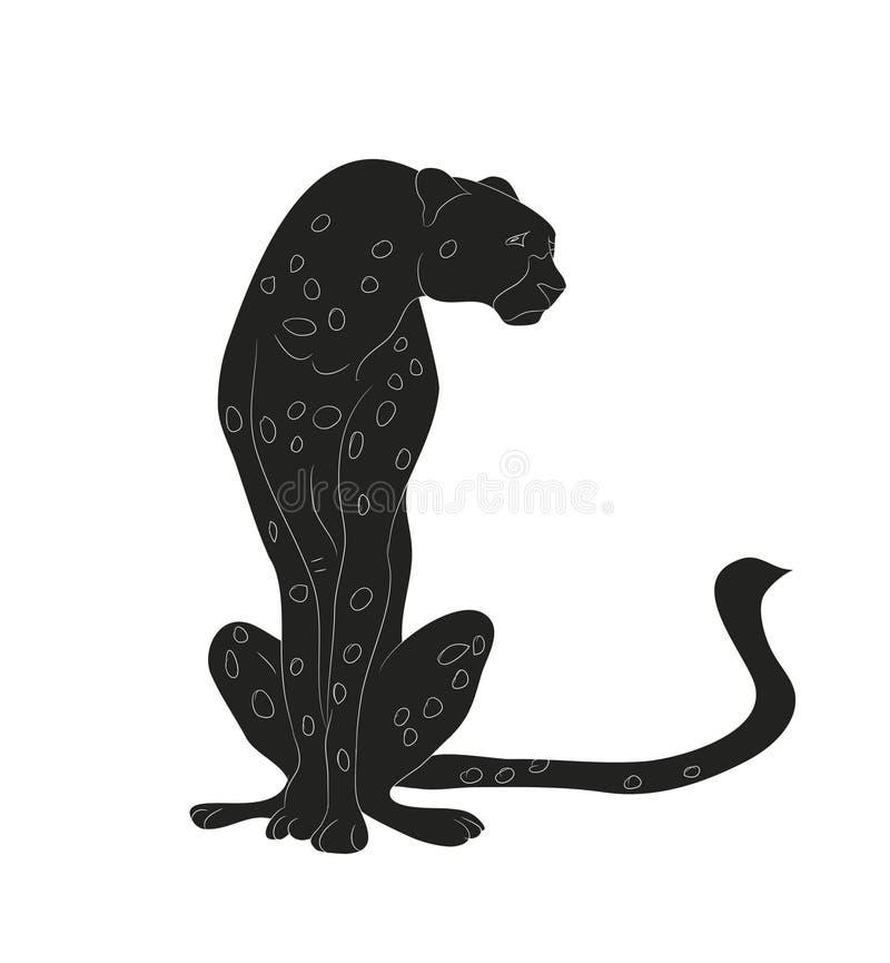 Gepard siedząca rysunkowa sylwetka, wektor royalty ilustracja