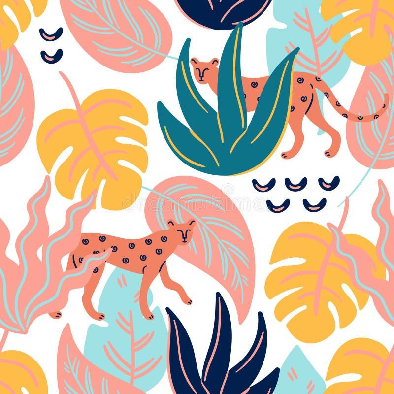 Gepard sind im Dschungel Nahtloses Muster des modischen tropischen Vektors lizenzfreie abbildung