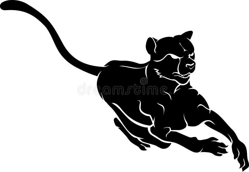 Gepard sylwetki Frontowy widok royalty ilustracja