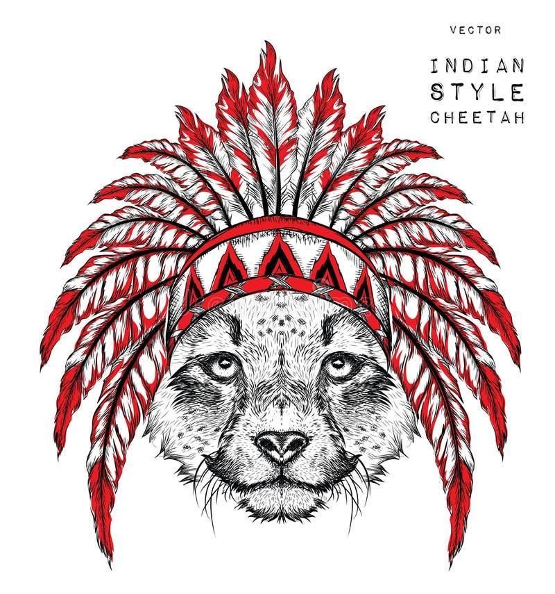 Gepard w Indiańskiej płoci Indianina piórkowy pióropusz orzeł Ręka remisu wektoru ilustracja ilustracji