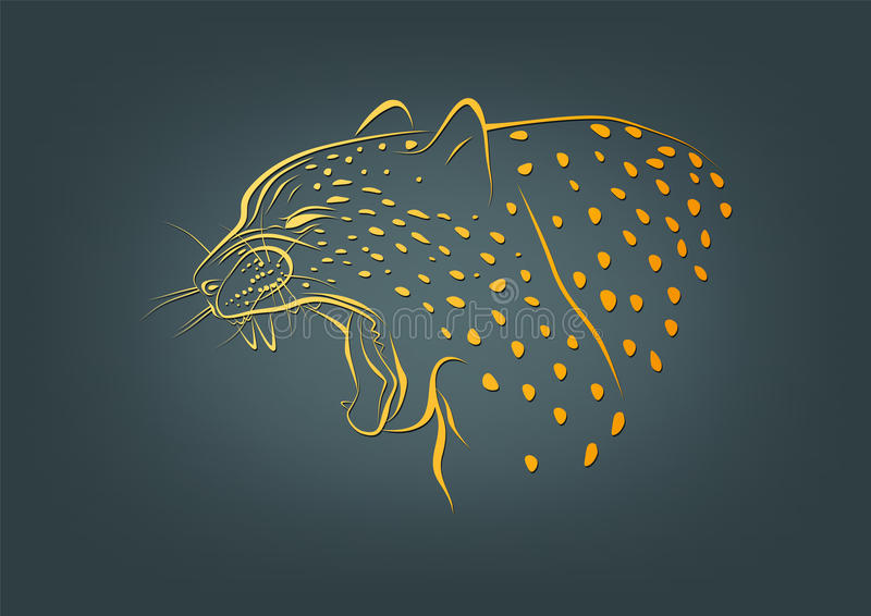 Geparda logo, lamparta symbol i żbika pojęcia projekt, ilustracja wektor