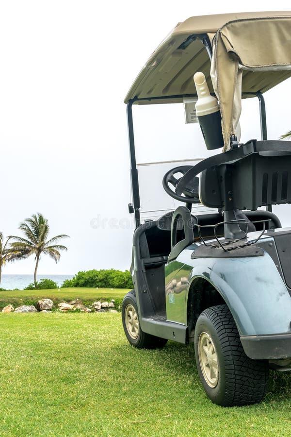 Geparkeerde groene golfkar op golfcursus stock fotografie