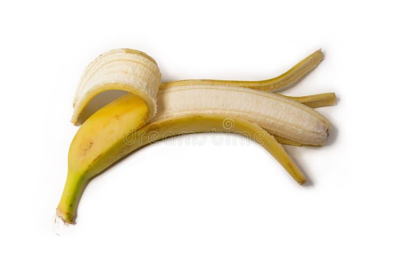 Gepelde banaan op wit geïsoleerde achtergrond stock afbeelding