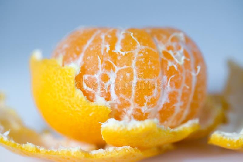 Gepelde mandarijn of mandarin macro stock afbeelding