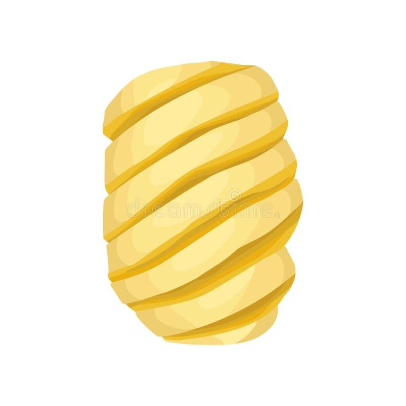 Gepelde spiraalvormig-gevormde ananas Zoet Tropisch fruit Gedetailleerd vlak vectorelement voor promoaffiche of banner vector illustratie