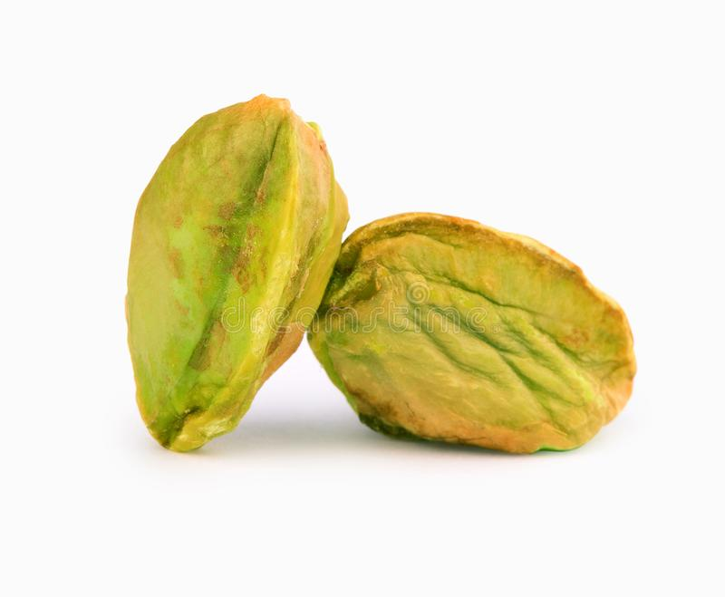Gepelde zoute pistaches geïsoleerde snack stock afbeeldingen