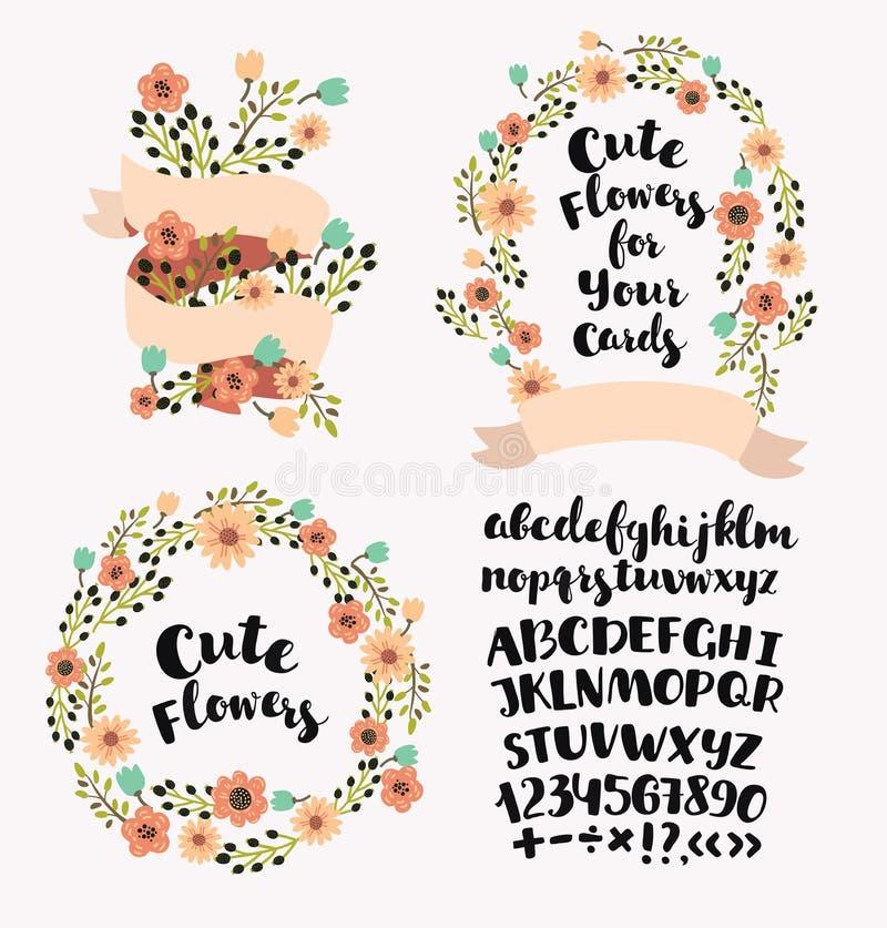 Gepersonaliseerd monogram in uitstekende kleuren Modieuze brief K Kan als groetkaart, uitnodigingskaart worden gebruikt Bloemenkr stock illustratie