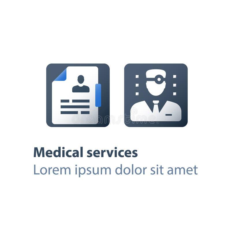 Gepersonaliseerde benadering, arts en klembord, het medische raadplegen, de gezondheidszorgdiensten, huisarts, ziekteverlofcertif vector illustratie