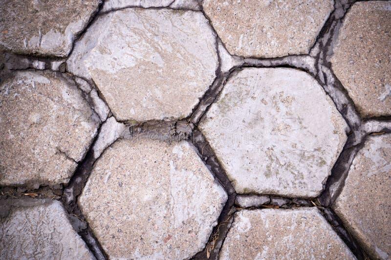 Gepflasterter B?rgersteig des Hexagons Fliese Hintergrund, st?dtisch lizenzfreie stockfotos