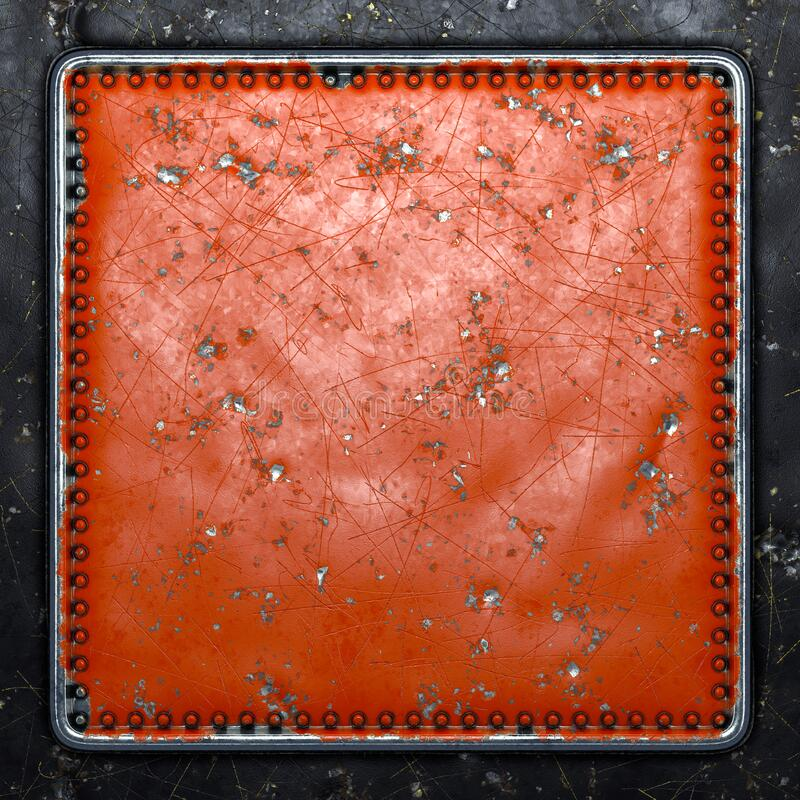Gepiliseerd rood metaal met rivieren in de vorm van een vierkant in het midden op een zwarte metalen achtergrond 3d stock foto