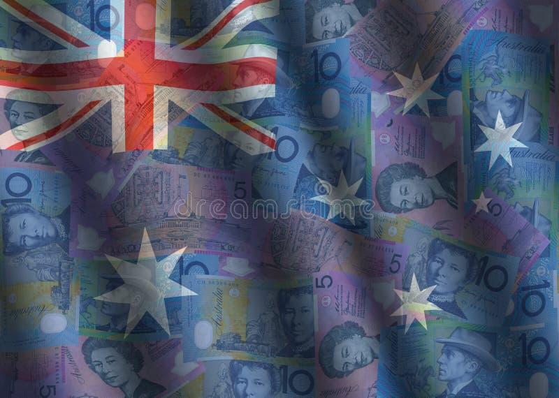Geplätscherte Dollar und australische Markierungsfahne stock abbildung