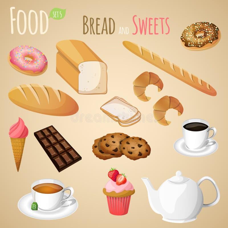 Geplaatst brood en snoepjes royalty-vrije illustratie