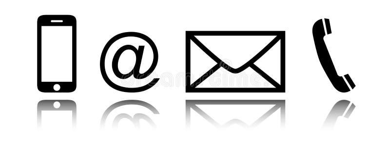 Geplaatst contactpictogram - mobiel, telefoon, post, envelop, e-mailsymbool stock illustratie