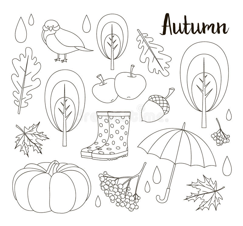 Geplaatst de herfstpictogram en voorwerpen stock illustratie