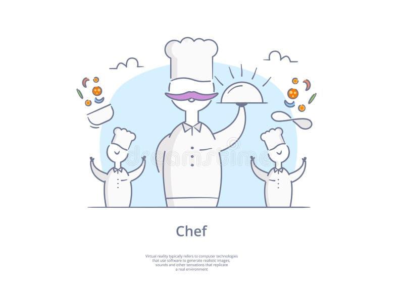 Geplaatst de Lijnpictogram en Concept van de premiekwaliteit Hand getrokken: Jonge professionele chef-koks, het Koken procédé stock illustratie