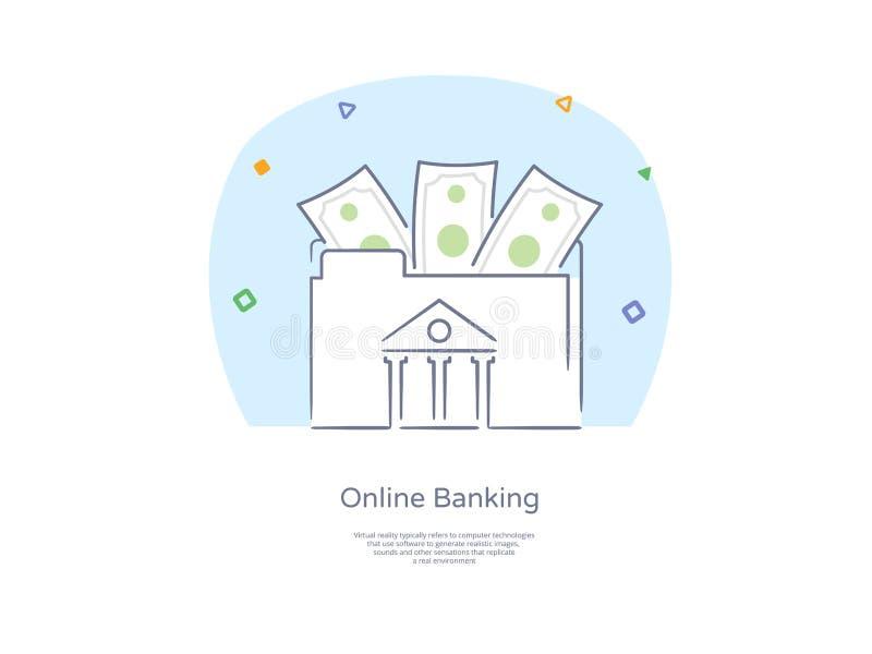 Geplaatst de Lijnpictogram en Concept van de premiekwaliteit Hand getrokken: Mensen die en geld, Online bankwezenthema, Bankwezen vector illustratie
