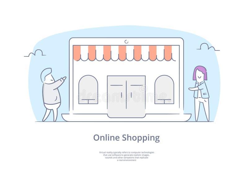 Geplaatst de Lijnpictogram en Concept van de premiekwaliteit Hand getrokken: Winkelende mensen met zakkenkarakters, Online het Wi royalty-vrije illustratie