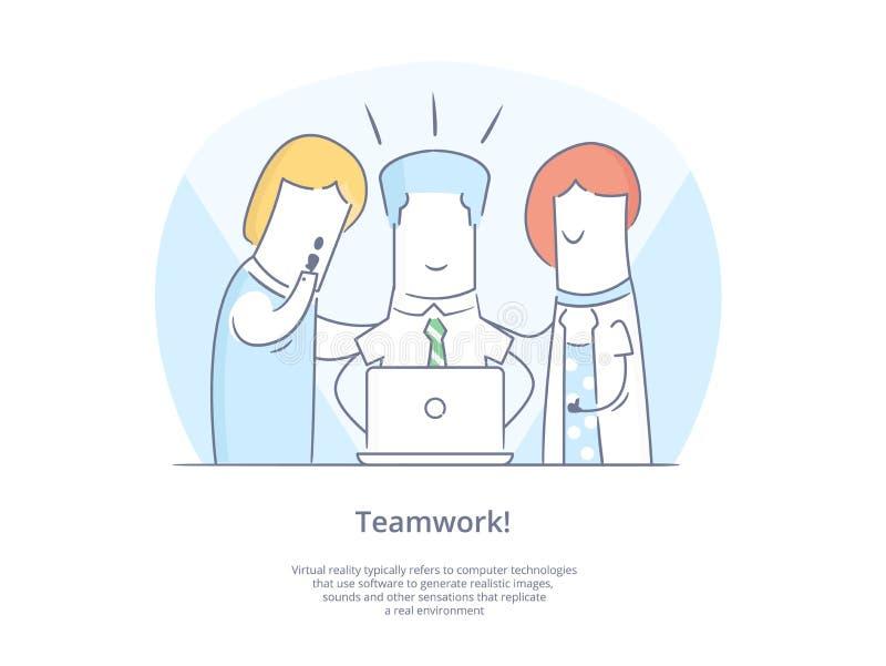 Geplaatst de Lijnpictogram en Concept van de premiekwaliteit: Jonge groep die mensen samen met laptops werken royalty-vrije illustratie