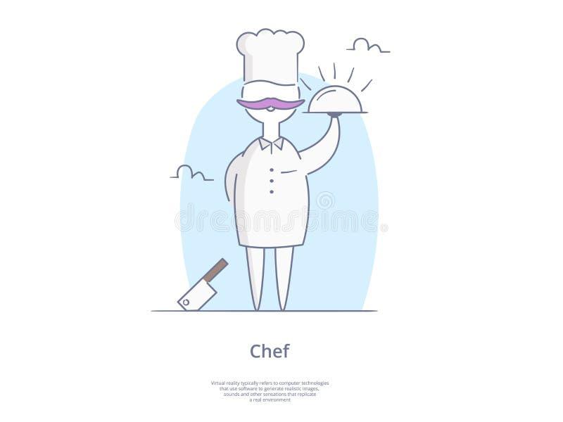 Geplaatst de Lijnpictogram en Concept van de premiekwaliteit: Jonge professionele chef-koks vector illustratie