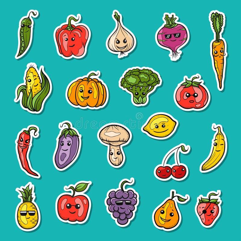 Geplaatst fruit en groenten royalty-vrije illustratie