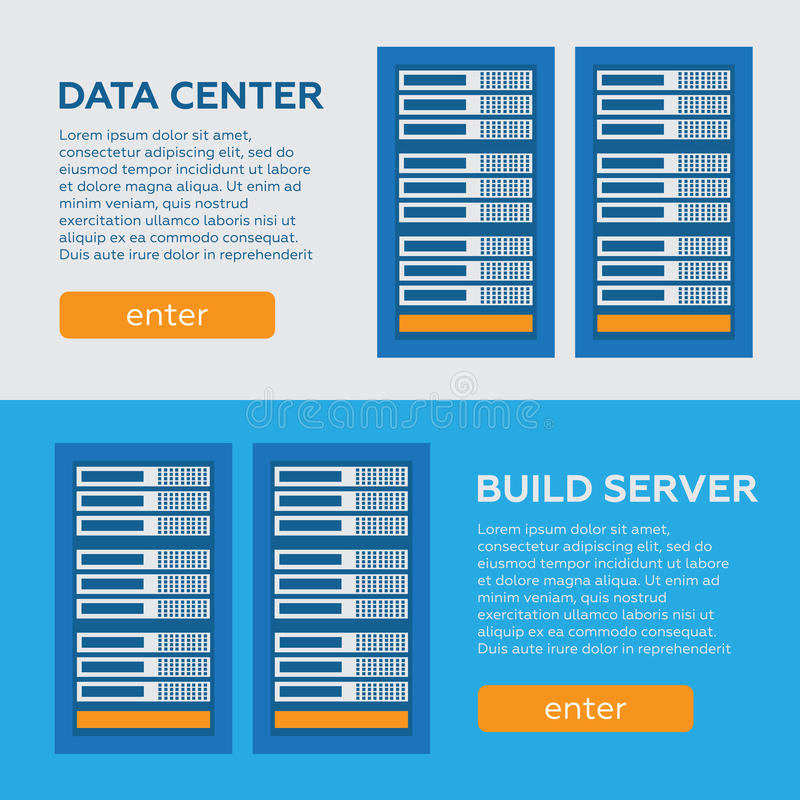 Geplaatst gegevenscentrum en ontvangende banners Het gegevensbestand van netwerkinternet vector illustratie