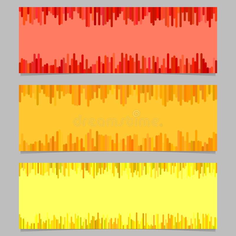Geplaatst het malplaatjeontwerp van de kleurenbanner - horizontale vector grafisch van verticale lijnen stock illustratie