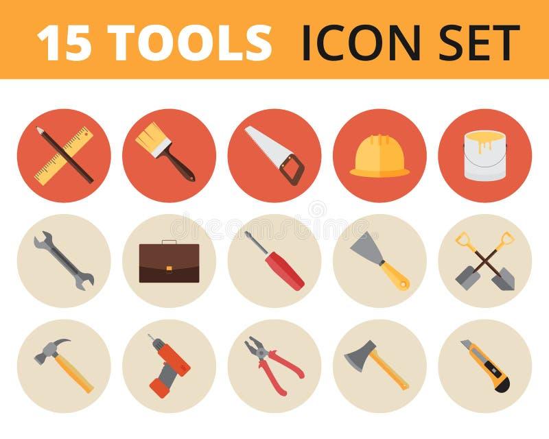 Geplaatst hulpmiddelenpictogram - 15 pictogrammen royalty-vrije stock afbeeldingen