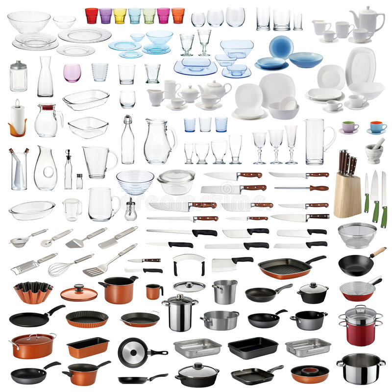 Geplaatst keukengerei stock afbeelding