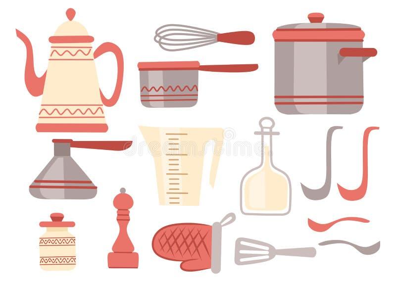 Geplaatst keukengerei Keukengerei, cookware, keukengereedschapinzameling De moderne pictogrammen van het keukenwerktuig in Arabis vector illustratie