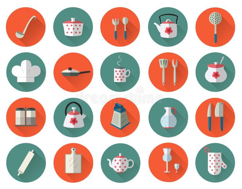 Geplaatst keukengerei en cookware vlak pictogrammen, kokende hulpmiddelen stock illustratie