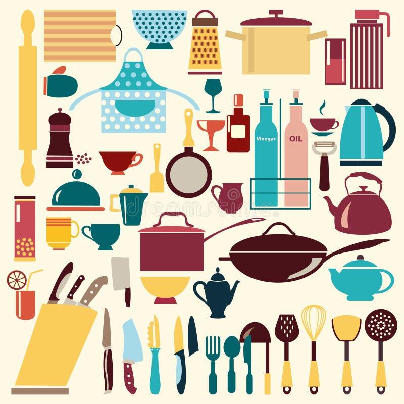 Geplaatst keukengerei - Illustratie stock illustratie