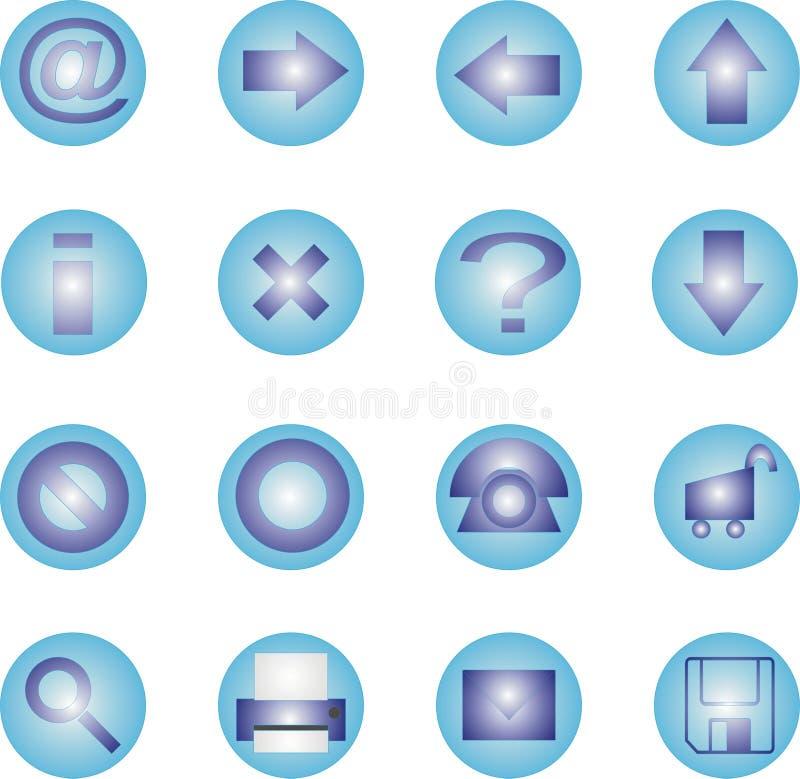 geplaatst pictogram 16 - Blauw stock illustratie