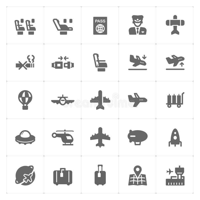 Geplaatst pictogram - het vliegtuig en de luchthaven vulden pictogram vector illustratie