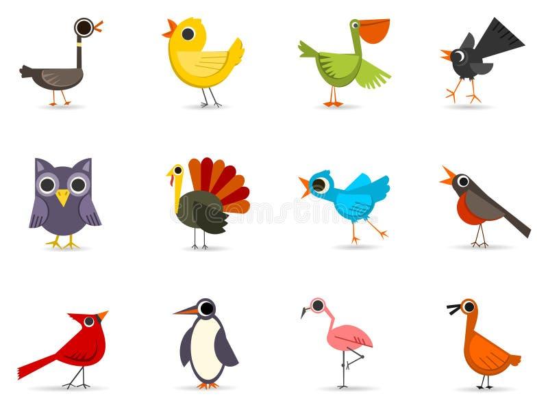 Geplaatst pictogram - Vogels royalty-vrije illustratie