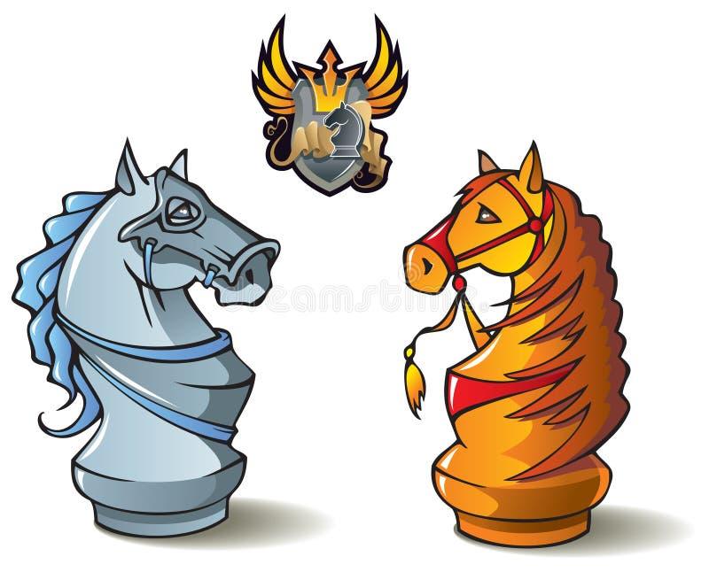 Geplaatst schaak: Ridders stock illustratie