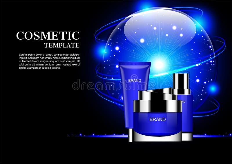 Geplaatst schoonheidsmiddel en blauwe glanzende bol met orbitale lichten op dark vector illustratie