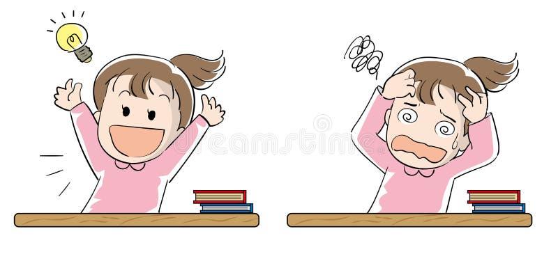 Geplaatst studentenmeisje - Voltooiing en frustratie royalty-vrije illustratie