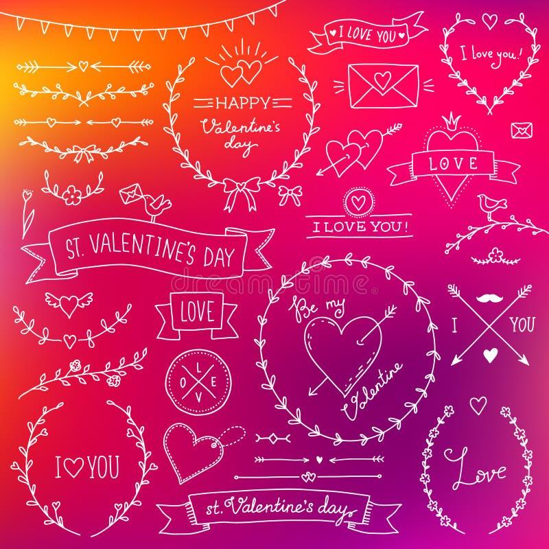 Geplaatst Valentine vector illustratie