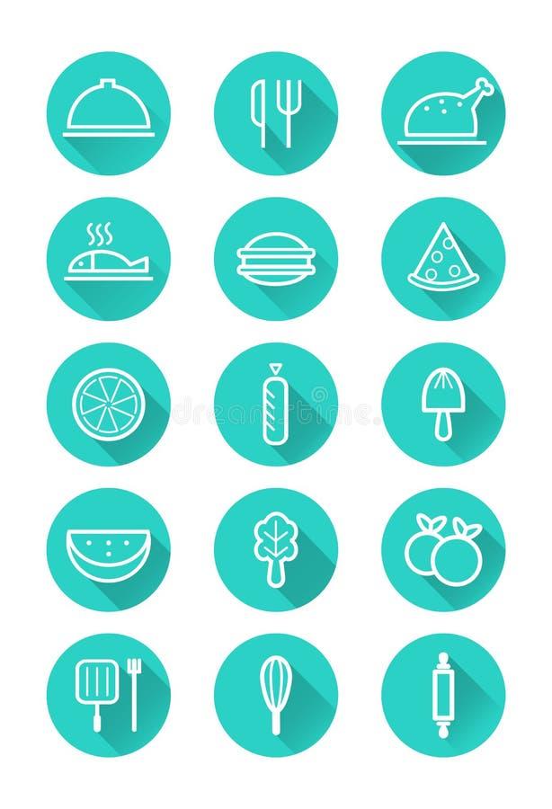 Download Geplaatst Voedsel En Kokende Pictogrammen Vector Illustratie - Illustratie bestaande uit illustratie, klem: 39115936