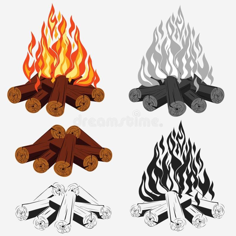Geplaatst vuur - kamperend royalty-vrije illustratie