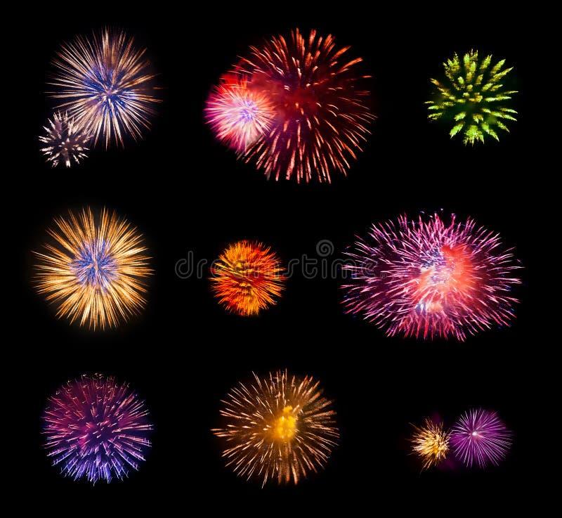 Geplaatst vuurwerk stock afbeeldingen