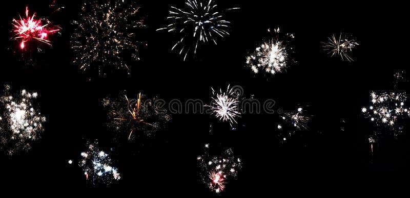 Geplaatst vuurwerk stock fotografie