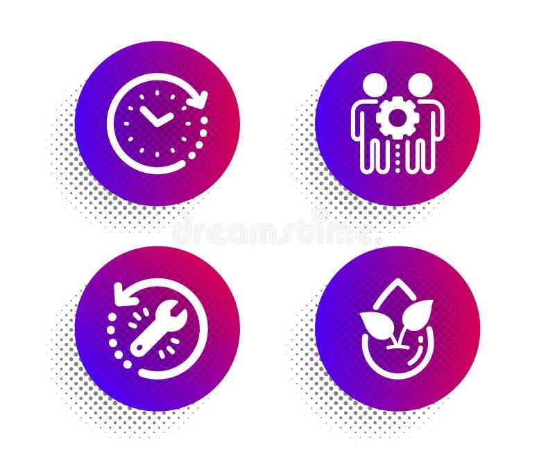 Geplaatst werknemersgroepswerk, Tijdverandering en de pictogrammen van het Terugwinningshulpmiddel Biologisch productteken Vector stock illustratie