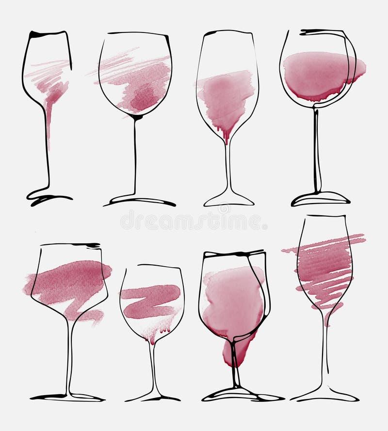 Geplaatst wijnglas - inzameling geschetst waterverfwijnglazen en silhouet royalty-vrije illustratie