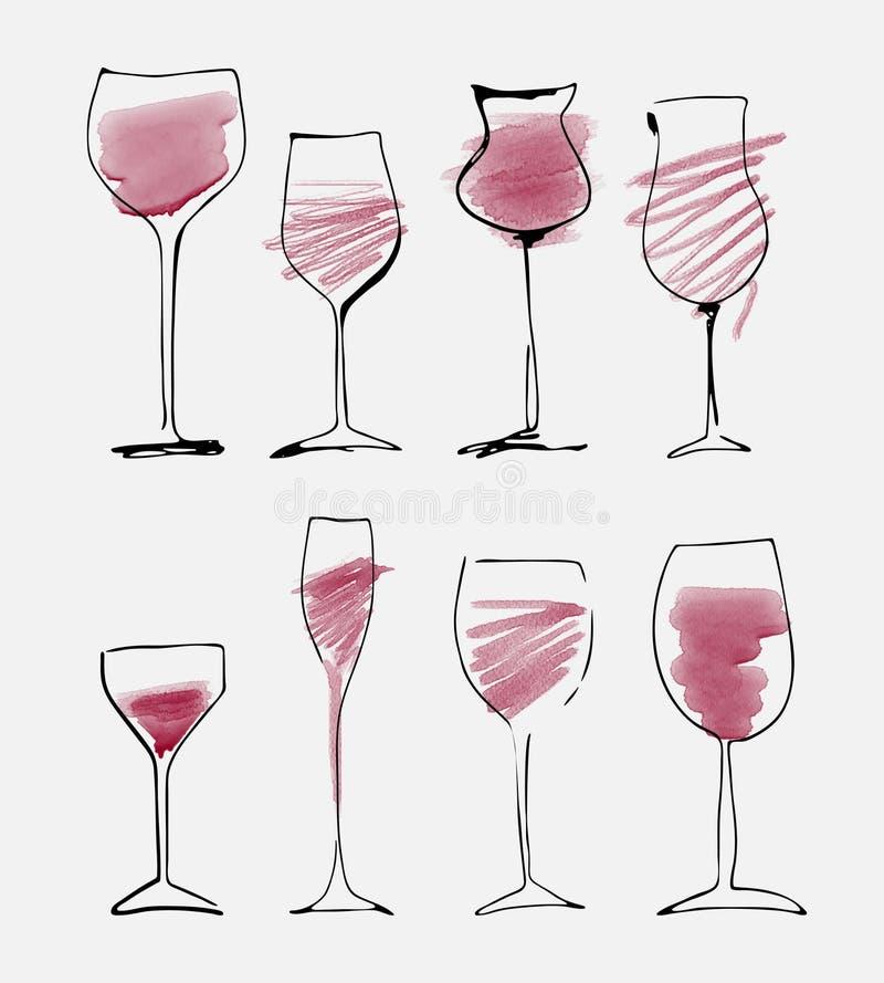 Geplaatst wijnglas - inzameling geschetst waterverfwijnglazen en silhouet vector illustratie