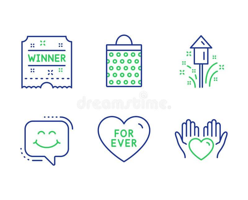 Geplaatst winnaarkaartje, voor ooit en de pictogrammen van het Glimlachpraatje Vuurwerk, het Winkelen zak en de tekens van het Gr vector illustratie