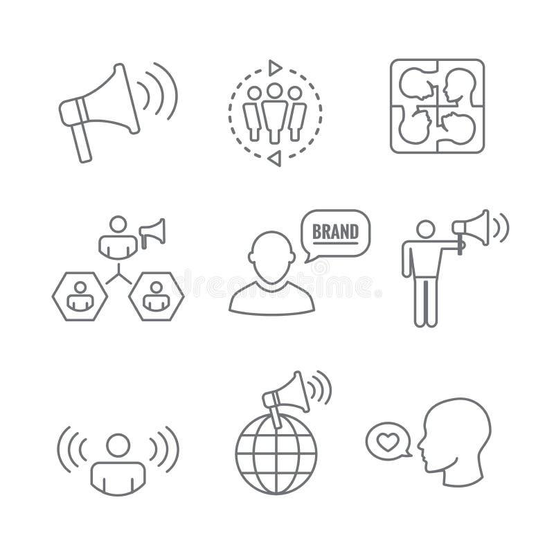 Geplaatst woordvoerderpictogram - megafoon, coördinatie, PR, en openbaar r vector illustratie